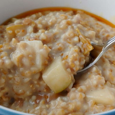 Steel Cut Oats with Walnuts and Pear