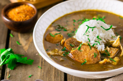 a photo of andouille sausage-chicken gumbo