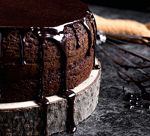 chocolate cake dripping with chocolate glaze