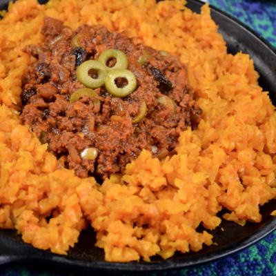 Chorizo Picadillo with Butternut Squash Rice