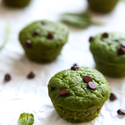 Mint Chocolate Chip Spinach Muffins