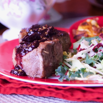 Lamb Loin Chop (with cherry reduction sauce)