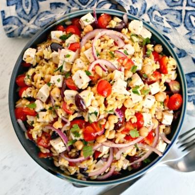 Mediterranean Orzo Salad (Vegan)