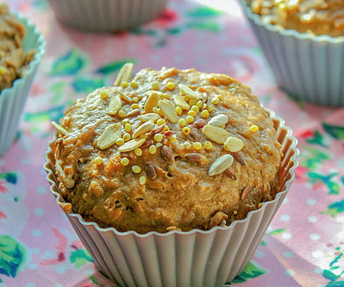 muffins topped with seeds