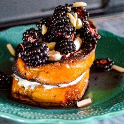 Almond Pan Perdu with Sweet Honey Mascarpone and Blackberries