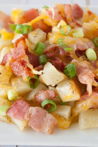 loaded potatoes on a plate