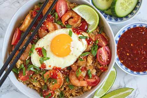 shrimp nasi goreng topped with a sunny side egg
