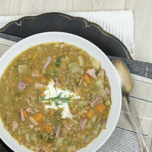 a bowl of Slow Lentil and Ham Soup