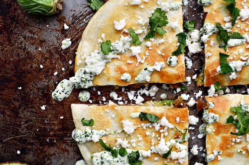 4 slices of vegetarian quesadillas