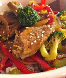 Beef Broccoli Stir Fry in a bowl