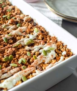 carrot Cake Bake Oats in a baking dish