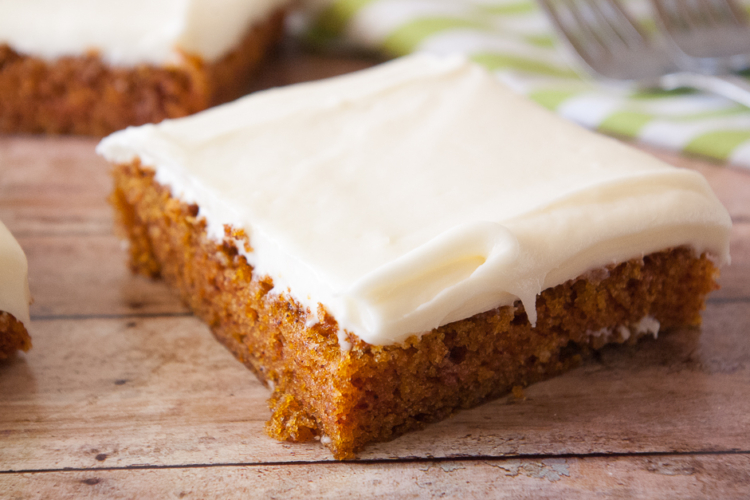 one piece of carrot sheet cake