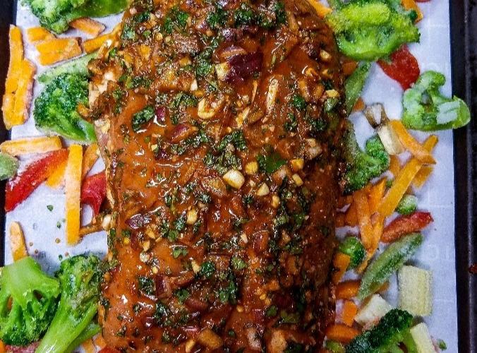 Chili lime pork loin with roasted stir fry veggies