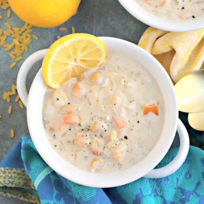 Creamy Lemon Orzo Soup (Vegan)