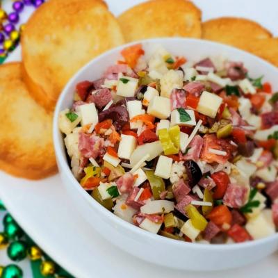 Muffaletta Dip with an Alabama Twist-Venison Salami