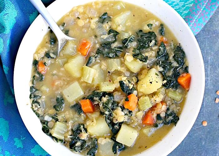 Red Lentil Potato Soup in a bowl