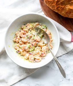 shrimp salad in a bowl