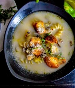 Lemon Herb Chicken Noodle Soup in a bowl