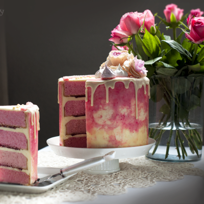 Pink Layer Cake with Raspberry Jelly
