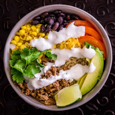 Brown Rice Taco Bowls with Lime Crema