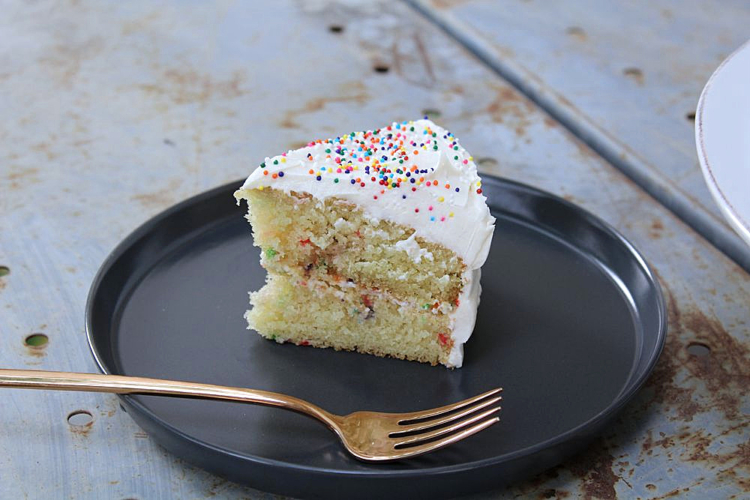 a slice of birthday cake on a plate