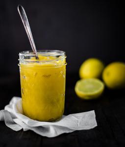 lemon curd in a glass mason jar
