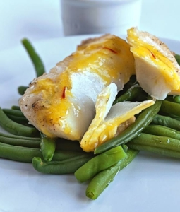 baked haddock over green beans