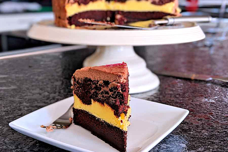 Chocolate cake with passion fruit buttercream