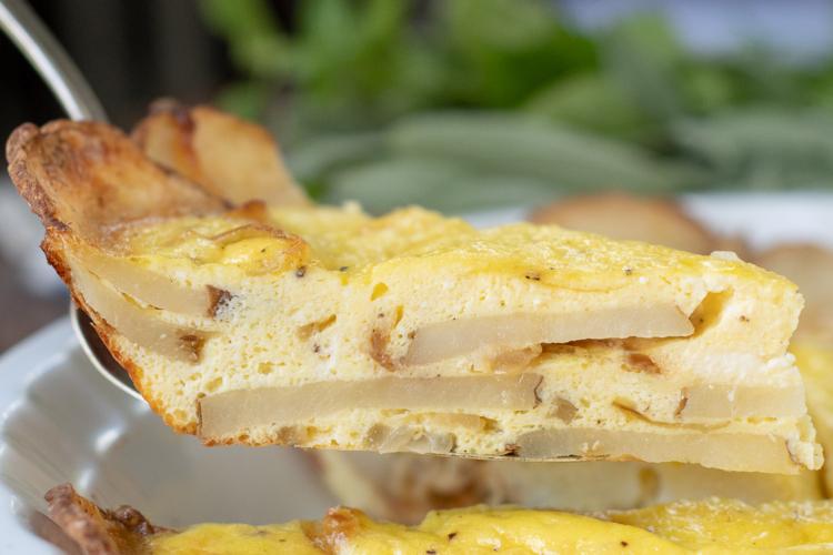 one slice of potato frittata