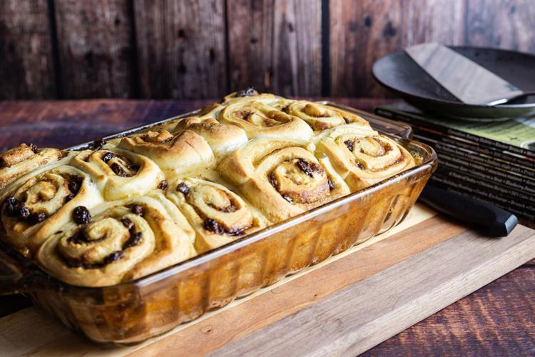 Mashed Potato Raisin Buns in a baking dish