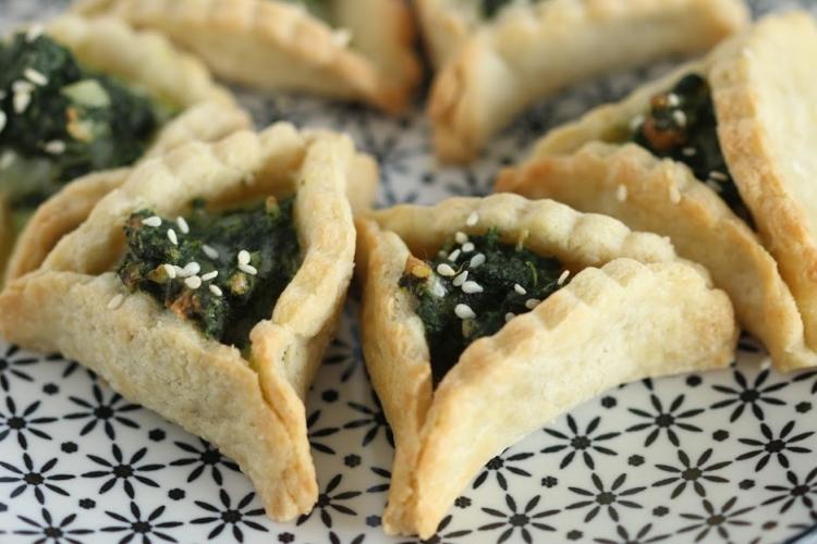 spinach Hamantaschen on a plate
