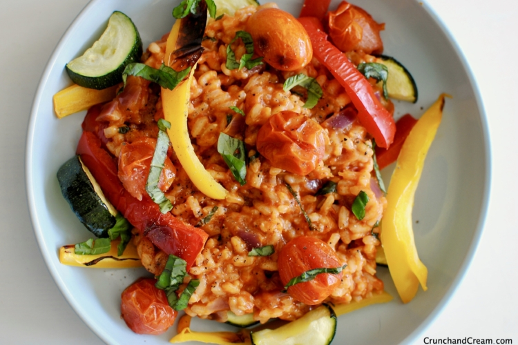 tomato risotto with grilled veggies
