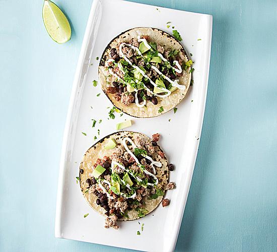 chicken tacos on a platter