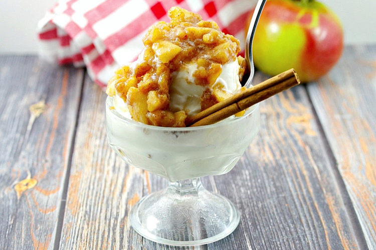 ice cream with apple cinnamon topping