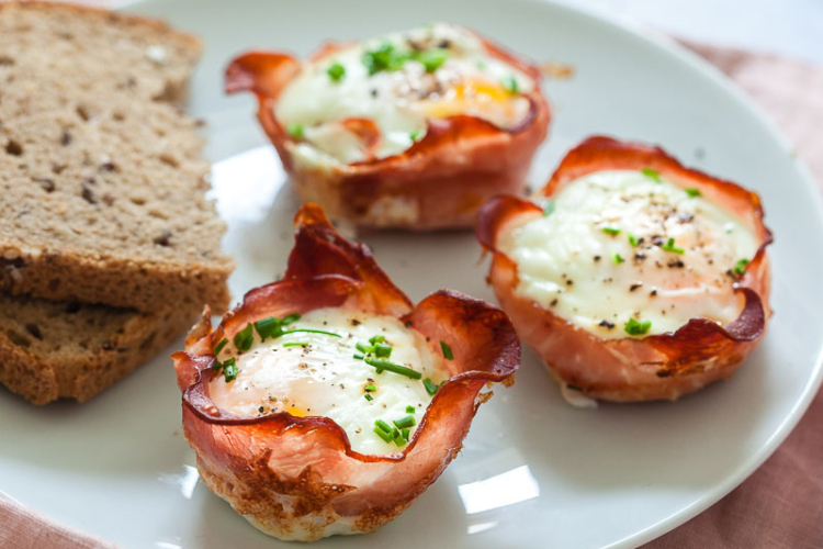 eggs with bacon wrapped around them