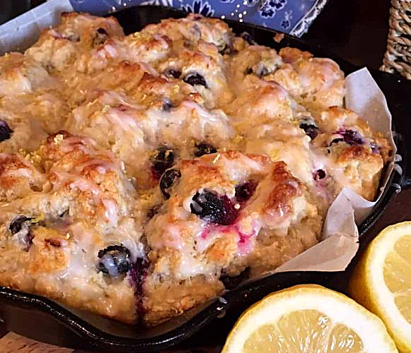 Glazed Blueberry Lemon Soda Bread Muffins in a baking dish