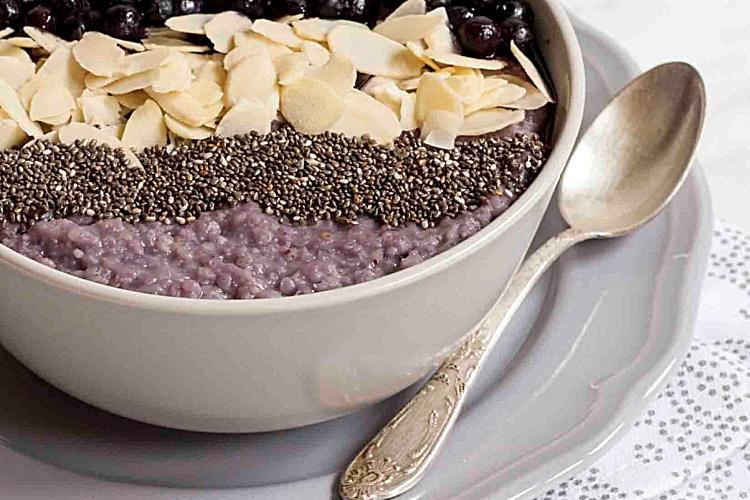 blueberry millet porridge in a bowl