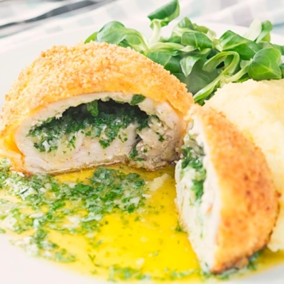Buttery Chicken Kiev with Mashed Potato