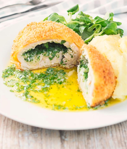 chicken kiev on a plate