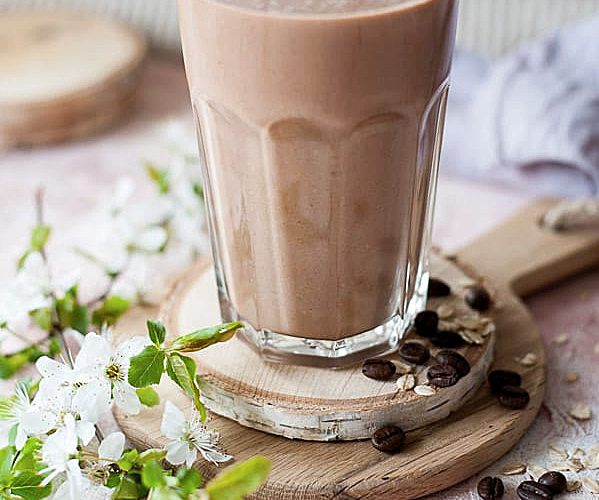 cofee banana smoothie in a glass