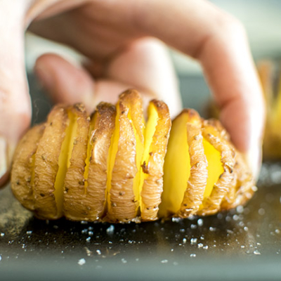 Hasselback Salt and Vinegar Potatoes
