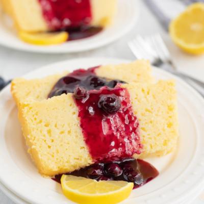 Lemon Ricotta Pound Cake with Blueberry Sauce