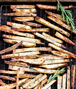 rosemary fries on a sheet pan