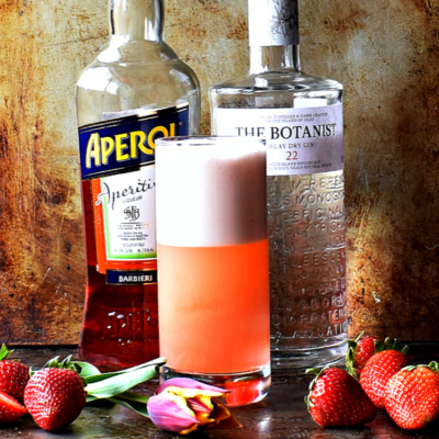 Strawberry Aperol Gin Fizz