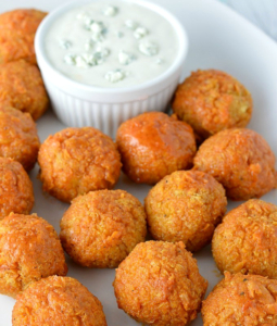 buffalo quinoa bites with dip on the side