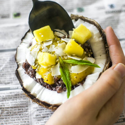 Mango and Coconut Black Rice Pudding