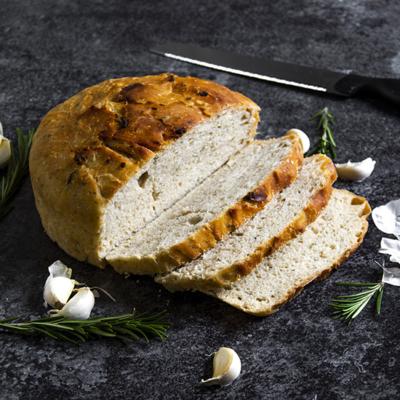 No Knead Garlic Rosemary Bread