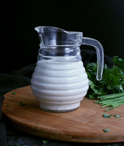 Low Carb Ranch Dressing in a glass pitcher