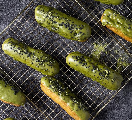 green matcha eclairs