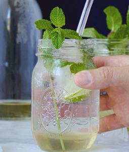 mint lime soda in a mason glass